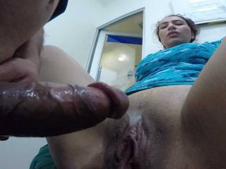 Wife Burning In Pleasure Watches Hubby Cock Putting Some Hot Man Sauce on her Pussy