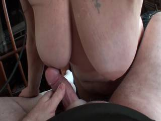 Girlfriend letting me rub my cock all over those big beautiful hanging titties. What do you think????