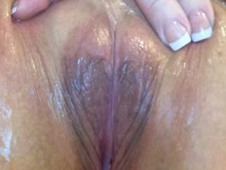 Wow, so wet and ready for a licking...I'd love to kiss and taste those smooth juicy lips while slipping a finger inside a little to really feel how wet you were