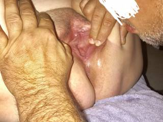 Friend licking my creampie out of my wife's pussy