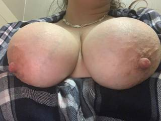 Tits out at work again