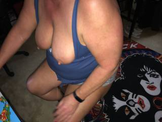 more tits out playing arcade game