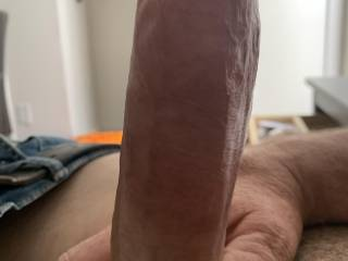 My cock straight up hard as a rock! Who wants to ride it?