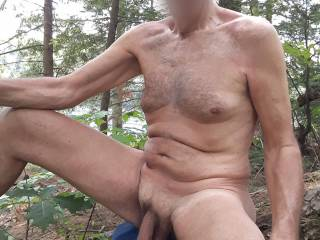 At a nude beach on a lake in a forest. Found this nice big log to sit on.