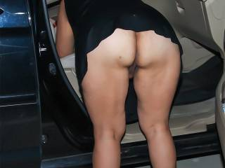 My dress was a bit short to not be wearing panties, especially when I had to bend over to get something out of the car.