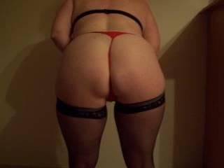 Grrreeaatt!!!! Lovely ass and legs, I love hose on you! Are you wearing heels, too?! Yeeeoooww! Hot stuff!!