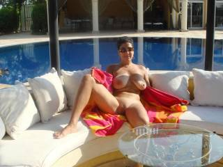 tits and pussy lounging by the pool