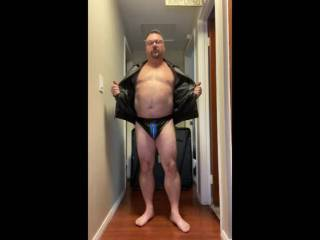 A fan asked for a video stripping out of a leather jacket. I also added my new leather undies as well.