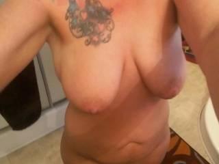 Wife beautiful floppy tits!