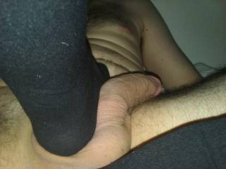 I love to play with this cock until I can get it to stand up nice and straight the way his balls feel undermine nylon feet toes makes my pussy dripping wet