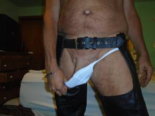 """showing off my NEW """"Black Leather Chaps"""""""