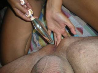Thats it, finger fuck his hole...then the toy...we LOVE anal, makes us cum HARD !