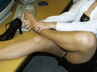 So hot!May I touch you perfect legs, to feel silky nylons and warmth of your body?