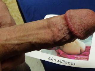 Another great view of her great Ass, with my cock observing her. MrsWilliams