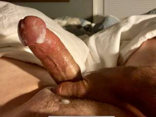 I jerked my throbbing cock off and it felt great. What a mess i made