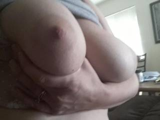 Kiki at home playing with her tits for me before her husband gets home