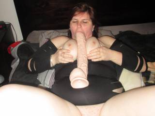 Just titty fucking my new huge dildo