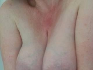 Huge milk filled tits on display