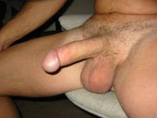 You have a really hot cock.   Would love to suck it while massaging those balls.