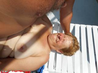 Wife cumming as she gets fucked by the pool as I take some pics.