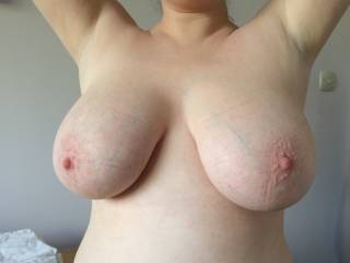 My big, pale, soft tits. Do you like the eager pink nipples? Can you imagine bending me over and making them sway when you fuck me?