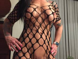 New fishnet outfit and Mask.  I bet you'd love  to be me and get fucked by this lovely minx!   Hottest pussy ever!