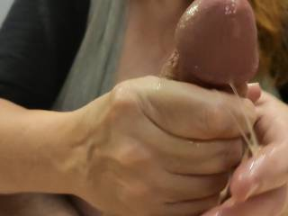 This cumslut is getting her just reward. Mmm... Look at all of that wonderful cum on my hands. It is so nice and sticky. After I finish milking Hubby\'s cock, I am going to lick my hands clean. Mmm... Do you want to be next?