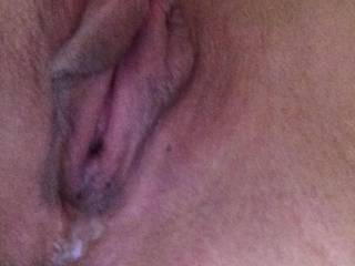 my wet fuck hole having just been pounded and gaped by my mans thick 9 inch cock...you can see his cum running out