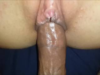 a close up view of me fucking her wet juicy pussy