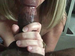 Oooooo,we enjoyed watching you suck his hot black cock....I'd enjoy sucking that cock too...Hubby would enjoy having you suck his cock while watching me suck that cock.  K & G