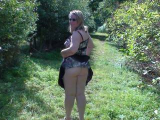 wife shows ass outdoors