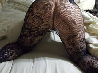 Big ass in fishnets, fat pussy