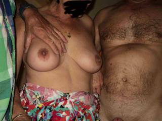 Beautiful tits Pauline, and two lucky cocks   xxx peter