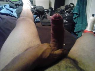 personally i'd love to be sucking and licking all over that long,thick, beautiful uncut cock!!!