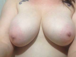 Those are 2 great assets!  I want to kiss, suck and nibble on them!  When your nipples get long and hard I'll roll them between my fingers....pinch them.....and gently tug on them with my teeth....