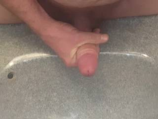 Quick jerk off in the sink. Haven\'t beat off in while so it was a quick cum. Filmed the mirror\'s reflection.