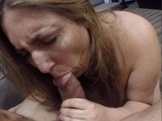 sucking my tip working her tongue and lips around my thick shaft teasing the shit outta me begging to get a big cum load shot all over her huge tits and face... She is such a cum lover  Comment if you like what you see and want to see more.
