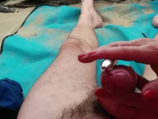 Girlfriend  giving me a treat with her vibrator on the beach, Please comment!
