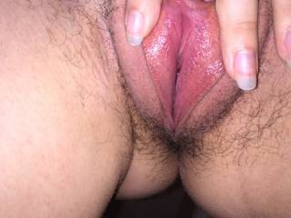 My wife's vagina spread open so you can look and cum all over it!