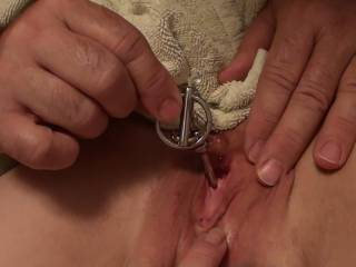 Not only does she have a lovely peehole, her clit looks delicious too, thanks for all your pics, you have to add more of your brilliant girlfriend as you play withher like this, especially if you could show off her  urethra just before or after the plug has been in.