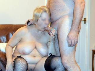 OMG! … what a lucky guy. Love the way she's holding his balls while swallowing his cock.