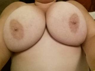 Awesome tits! I would love to spend a weekend sucking and cumming all over them!