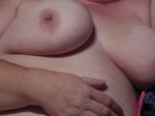 34-36DD and those nipples were nice. always fun playing with a big set of natural breasts