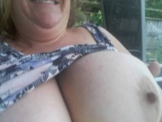 Sitting outside enjoying having my tits out on this lovely early morning b4 I have 2 go 2 work