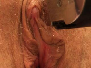 Shaving my wife\'s big hairy meaty pussy. Comments please.