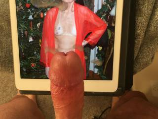 Sexy lady in red, had to paint her with my cum