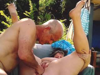 Finger fucking in our backyard! Using my spit as lube after eating her pussy and ass, I shoved two fingers in her pink, and two in her stink!