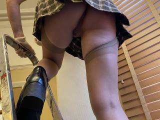 A little housework with no panties!