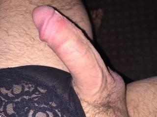 Wearing panties and getting hard