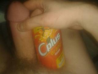 I've been told I'm rather thick....so I took a pic with the pop can to show size...I'm about half hard there